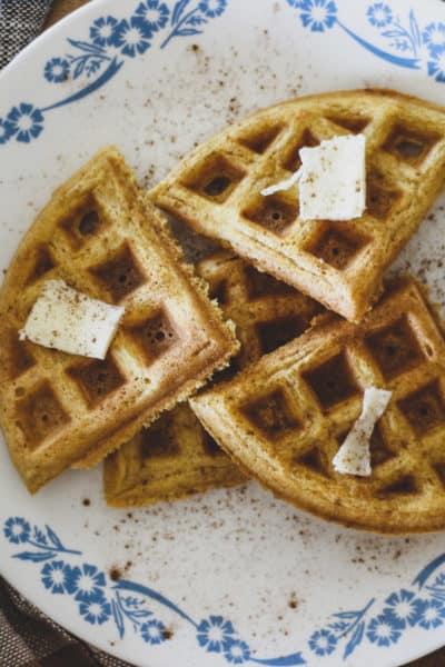 pumpkin spice sourdough waffles recipe for fall
