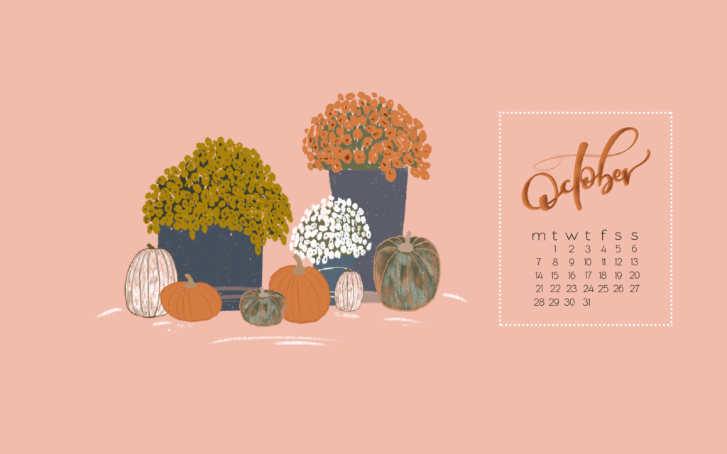 Hello October Free Desktop Mobile Background Calendars