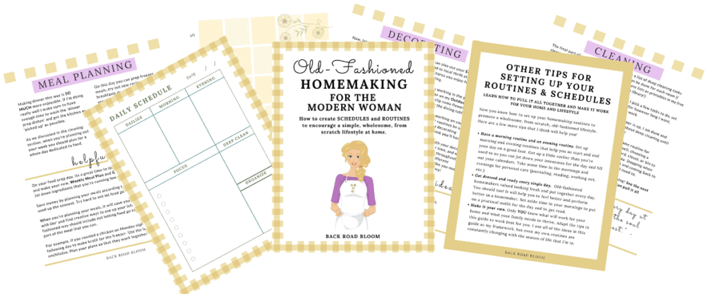old-fashioned homemaking schedules and homemaking routines for modern woman